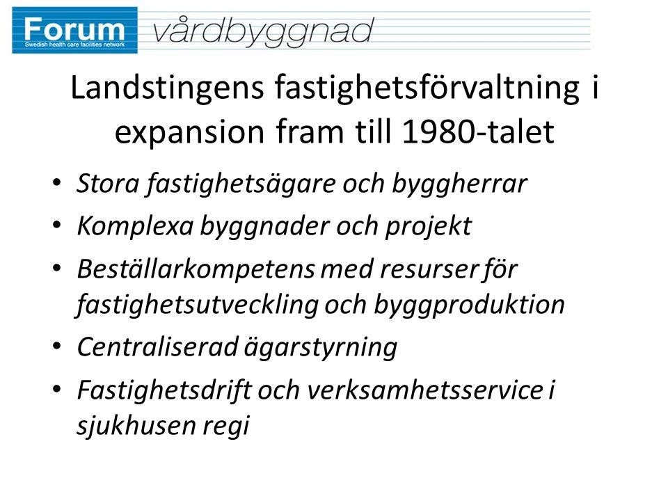 Landstingens fastighetsförvaltning i expansion fram till 1980-talet Stora fastighetsägare och byggherrar Komplexa byggnader och projekt Beställarkompe