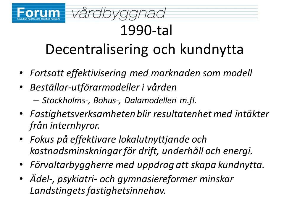 1990-tal Decentralisering och kundnytta Fortsatt effektivisering med marknaden som modell Beställar-utförarmodeller i vården – Stockholms-, Bohus-, Da