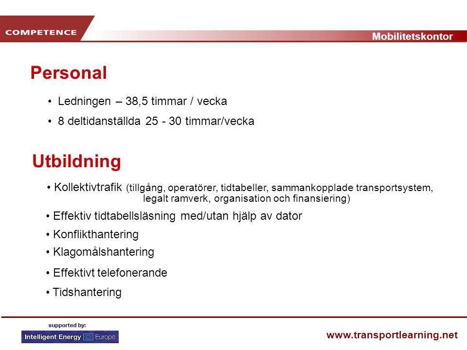 Mobilitetskontor www.transportlearning.net Personal Ledningen – 38,5 timmar / vecka 8 deltidanställda 25 - 30 timmar/vecka Utbildning Kollektivtrafik