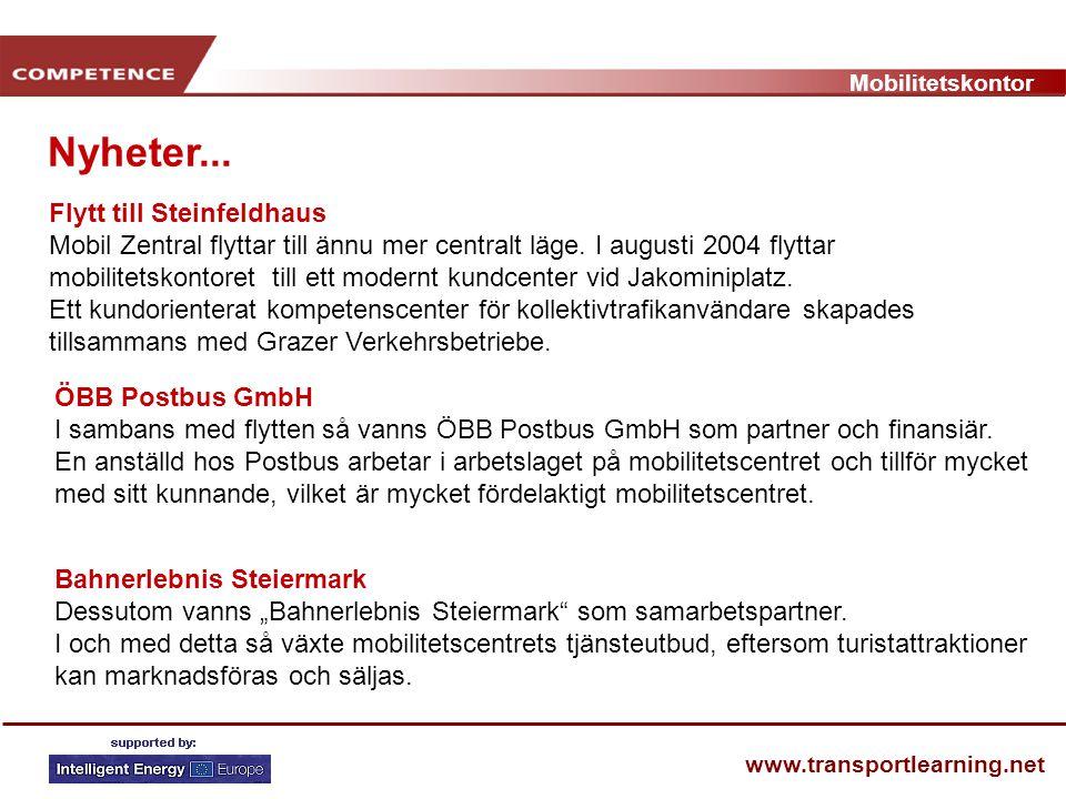 Mobilitetskontor www.transportlearning.net Nyheter... Flytt till Steinfeldhaus Mobil Zentral flyttar till ännu mer centralt läge. I augusti 2004 flytt