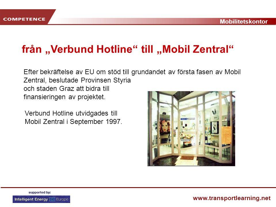 Mobilitetskontor www.transportlearning.net Efter bekräftelse av EU om stöd till grundandet av första fasen av Mobil Zentral, beslutade Provinsen Styri
