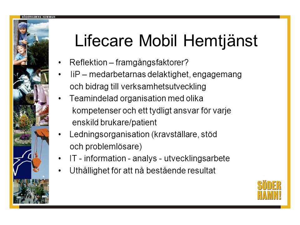 Lifecare Mobil Hemtjänst Reflektion – framgångsfaktorer? IiP – medarbetarnas delaktighet, engagemang och bidrag till verksamhetsutveckling Teamindelad