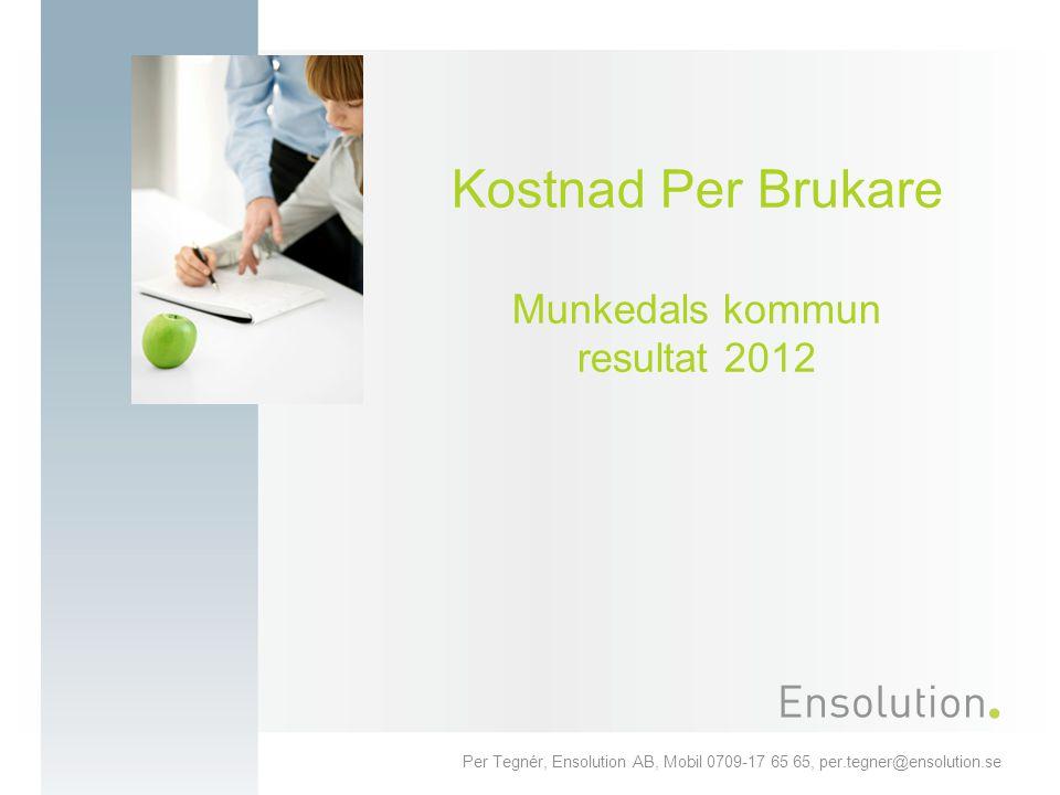 Per Tegnér, Ensolution AB, Mobil 0709-17 65 65, per.tegner@ensolution.se Kostnad Per Brukare Munkedals kommun resultat 2012
