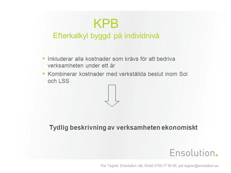 Per Tegnér, Ensolution AB, Mobil 0709-17 65 65, per.tegner@ensolution.se KPB Efterkalkyl byggd på individnivå Inkluderar alla kostnader som krävs för
