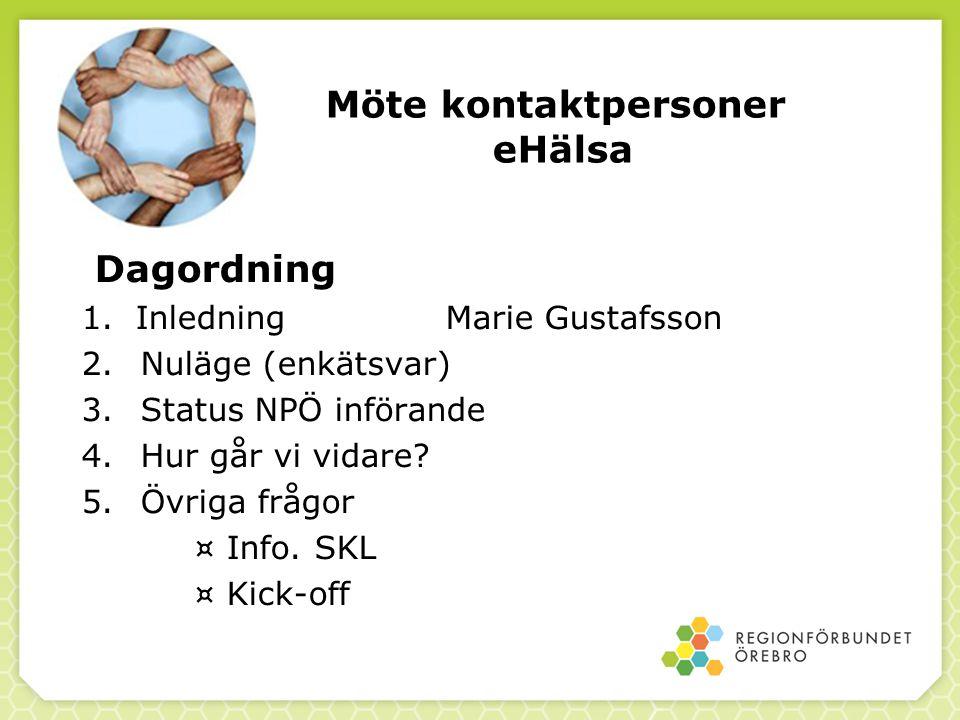 Möte kontaktpersoner eHälsa Dagordning 1.Inledning Marie Gustafsson 2. Nuläge (enkätsvar) 3. Status NPÖ införande 4. Hur går vi vidare? 5. Övriga fråg