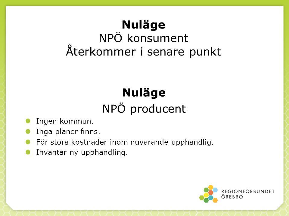 Nuläge NPÖ konsument Återkommer i senare punkt Nuläge NPÖ producent Ingen kommun. Inga planer finns. För stora kostnader inom nuvarande upphandlig. In