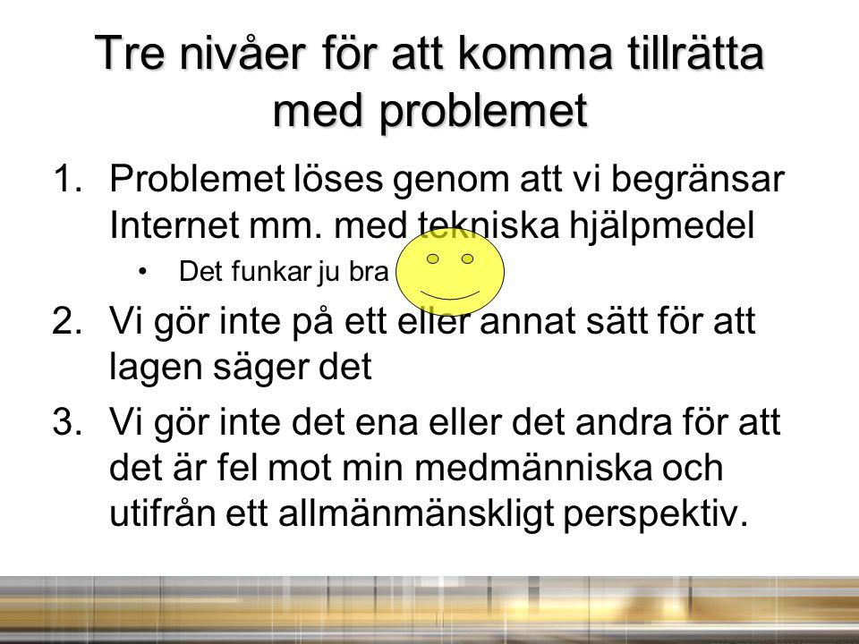 Tre nivåer för att komma tillrätta med problemet 1.Problemet löses genom att vi begränsar Internet mm. med tekniska hjälpmedel Det funkar ju bra 2.Vi