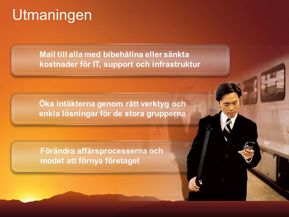 Mail till alla med bibehållna eller sänkta kostnader för IT, support och infrastruktur Förändra affärsprocesserna och modet att förnya företaget Öka i