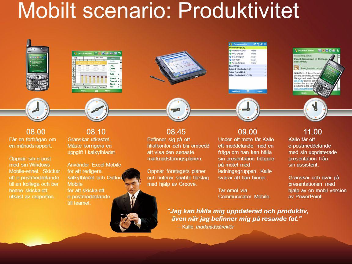 Mobilt scenario: Produktivitet 08.00 Får en förfrågan om en månadsrapport. Öppnar sin e-post med sin Windows Mobile-enhet. Skickar ett e-postmeddeland