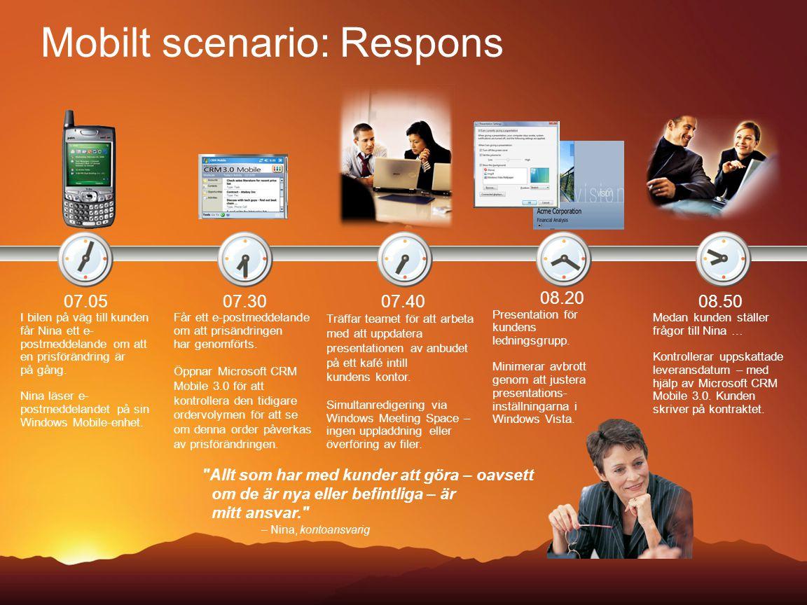 Mobilt scenario: Respons 08.20 Presentation för kundens ledningsgrupp. Minimerar avbrott genom att justera presentations- inställningarna i Windows Vi