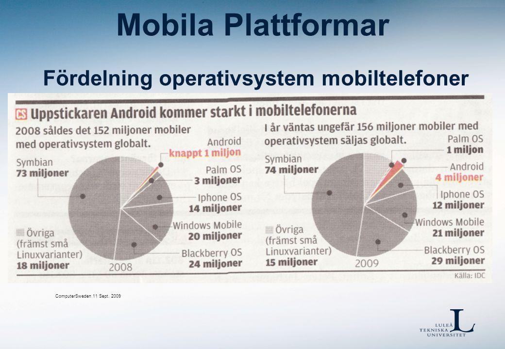 Mobila Plattformar Fördelning operativsystem mobiltelefoner ComputerSweden 11 Sept. 2009