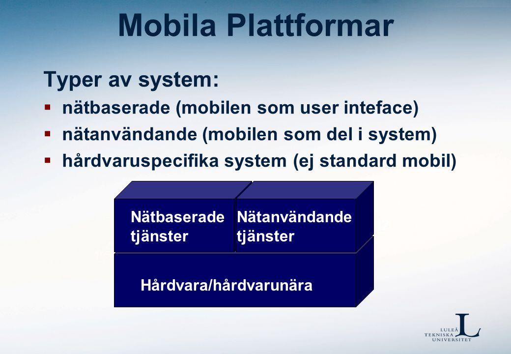 Hårdvara/hårdvarunära Mobila Plattformar Typer av system:  nätbaserade (mobilen som user inteface)  nätanvändande (mobilen som del i system)  hårdv