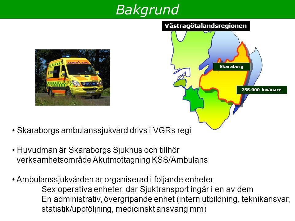 Västragötalandsregionen Skaraborg 255.000 invånare Bakgrund Skaraborgs ambulanssjukvård drivs i VGRs regi Huvudman är Skaraborgs Sjukhus och tillhör v