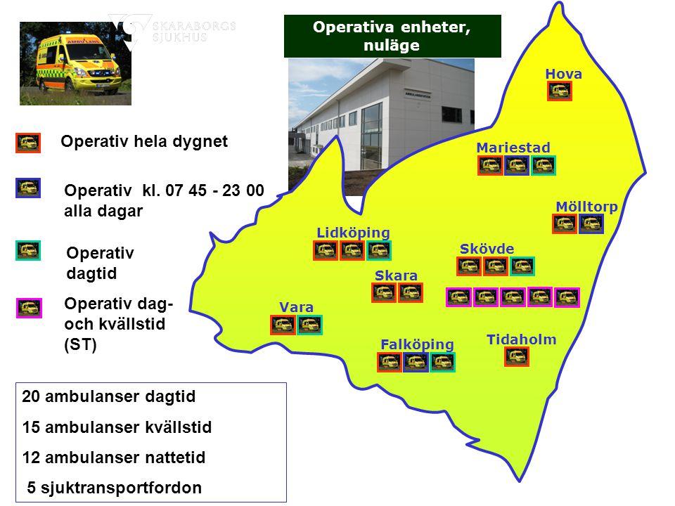 Operativa enheter, nuläge Falköping Tidaholm Vara Lidköping Skara Mariestad Mölltorp Skövde Hova Dag-/Kvällsambulanser 20 ambulanser dagtid 15 ambulan