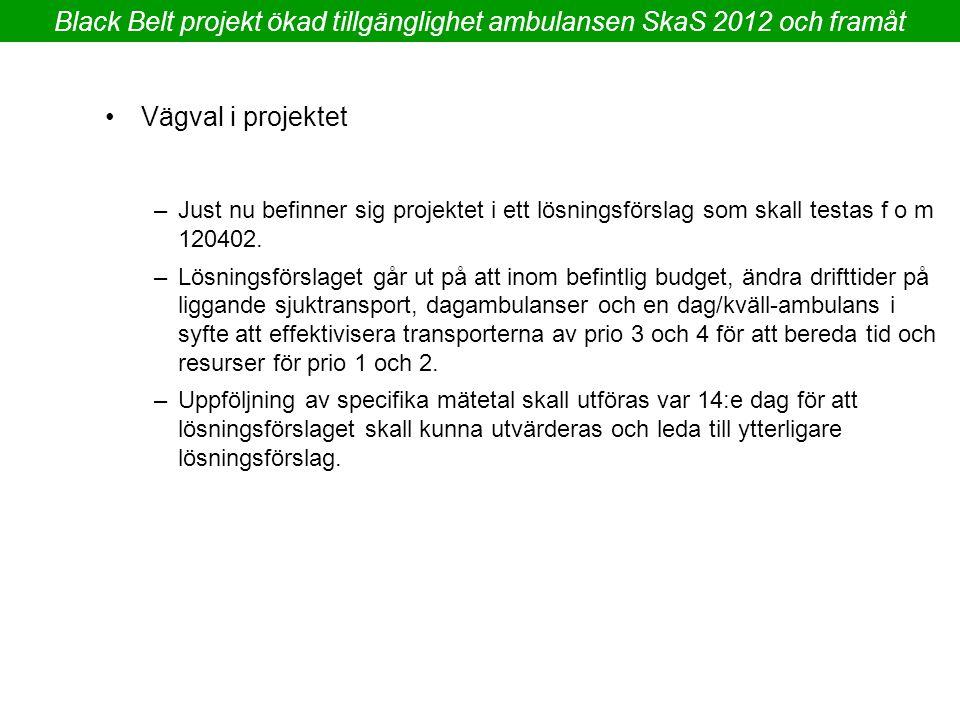 Black Belt projekt ökad tillgänglighet ambulansen SkaS 2012 och framåt –Just nu befinner sig projektet i ett lösningsförslag som skall testas f o m 12