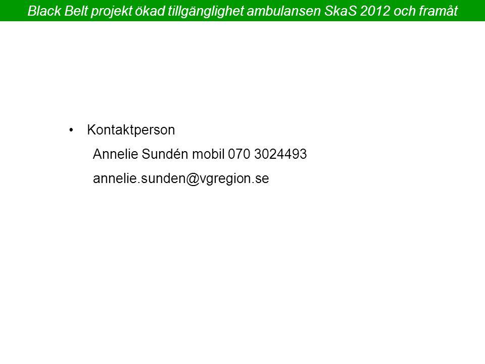 Black Belt projekt ökad tillgänglighet ambulansen SkaS 2012 och framåt Kontaktperson Annelie Sundén mobil 070 3024493 annelie.sunden@vgregion.se