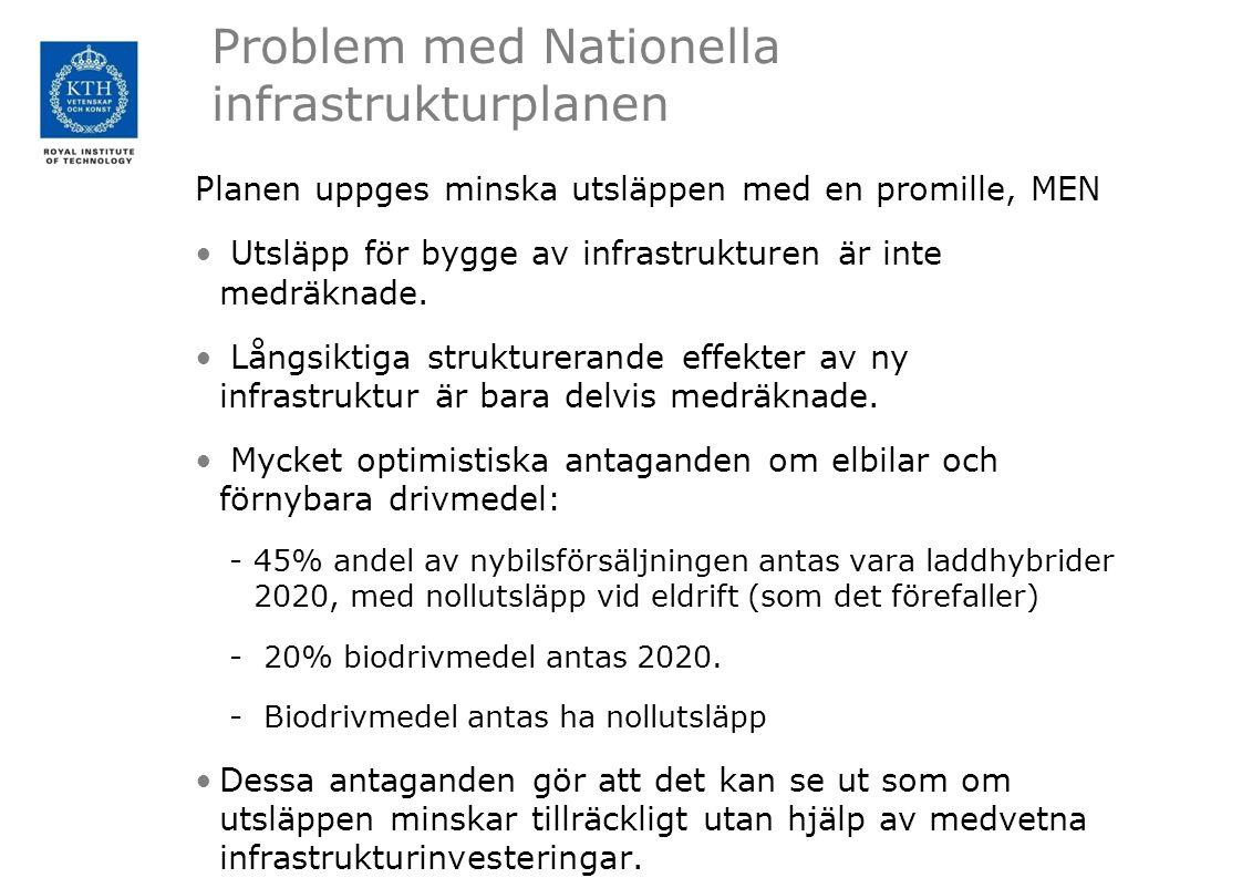 Problem med Nationella infrastrukturplanen Planen uppges minska utsläppen med en promille, MEN Utsläpp för bygge av infrastrukturen är inte medräknade