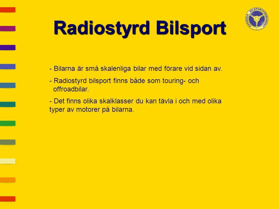 Radiostyrd Bilsport - Bilarna är små skalenliga bilar med förare vid sidan av. - Radiostyrd bilsport finns både som touring- och offroadbilar. - Det f