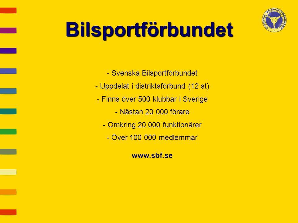 Bilsportförbundet - Svenska Bilsportförbundet - Uppdelat i distriktsförbund (12 st) - Finns över 500 klubbar i Sverige - Nästan 20 000 förare - Omkrin