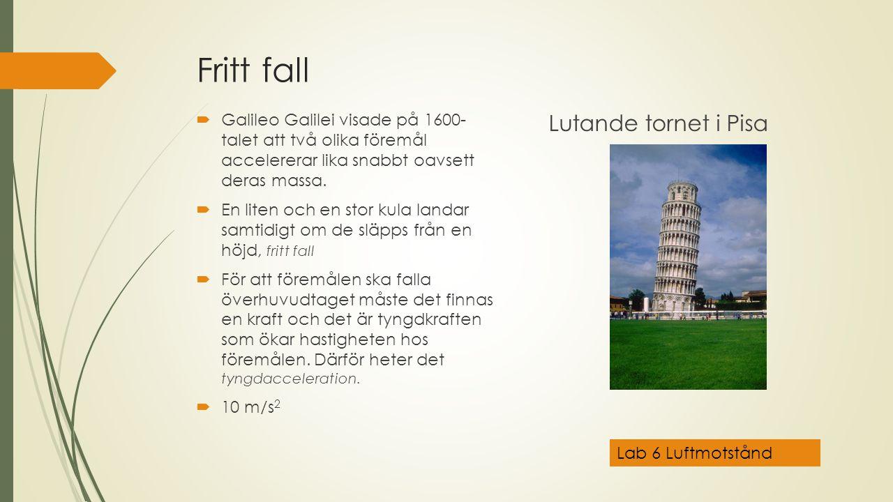Fritt fall  Galileo Galilei visade på 1600- talet att två olika föremål accelererar lika snabbt oavsett deras massa.  En liten och en stor kula land