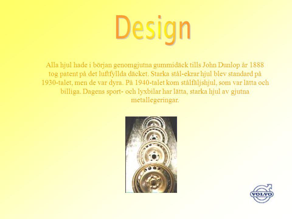 Alla hjul hade i början genomgjutna gummidäck tills John Dunlop år 1888 tog patent på det luftfyllda däcket. Starka stål-ekrar hjul blev standard på 1