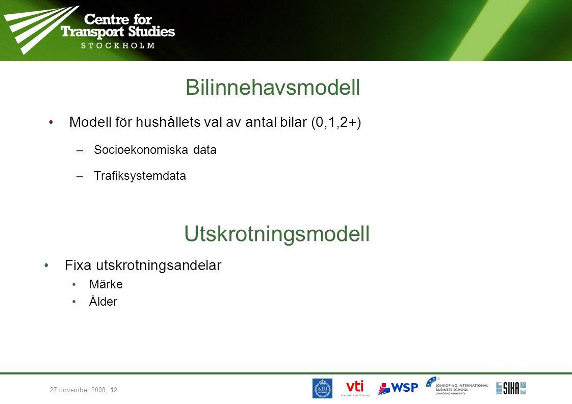 27 november 2009, 12 Utskrotningsmodell Fixa utskrotningsandelar Märke Ålder Bilinnehavsmodell Modell för hushållets val av antal bilar (0,1,2+) –Socioekonomiska data –Trafiksystemdata