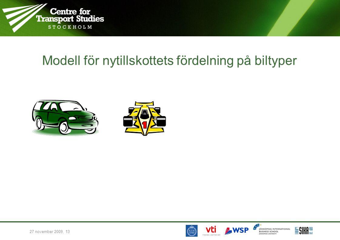27 november 2009, 13 Modell för nytillskottets fördelning på biltyper