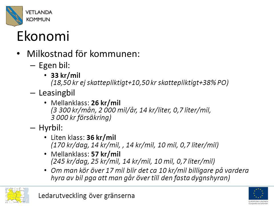 Ledarutveckling över gränserna Ekonomi Milkostnad för kommunen: – Egen bil: 33 kr/mil (18,50 kr ej skattepliktigt+10,50 kr skattepliktigt+38% PO) – Leasingbil Mellanklass: 26 kr/mil (3 300 kr/mån, 2 000 mil/år, 14 kr/liter, 0,7 liter/mil, 3 000 kr försäkring) – Hyrbil: Liten klass: 36 kr/mil (170 kr/dag, 14 kr/mil,, 14 kr/mil, 10 mil, 0,7 liter/mil) Mellanklass: 57 kr/mil (245 kr/dag, 25 kr/mil, 14 kr/mil, 10 mil, 0,7 liter/mil) Om man kör över 17 mil blir det ca 10 kr/mil billigare på vardera hyra av bil pga att man går över till den fasta dygnshyran)