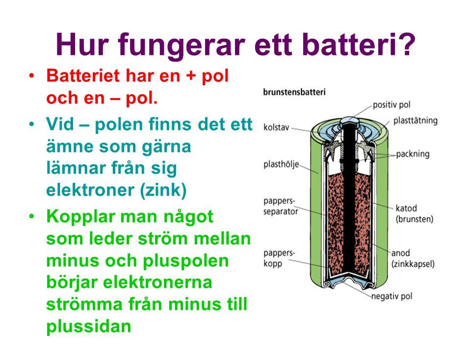 Hur fungerar ett batteri.Batteriet har en + pol och en – pol.