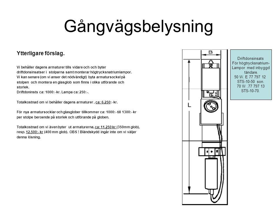 Gångvägsbelysning Ytterligare förslag. Vi behåller dagens armaturer tills vidare och och byter driftdonsinsatser i stolparna samt monterar högtrycksna