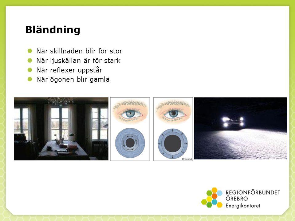 Bländning När skillnaden blir för stor När ljuskällan är för stark När reflexer uppstår När ögonen blir gamla