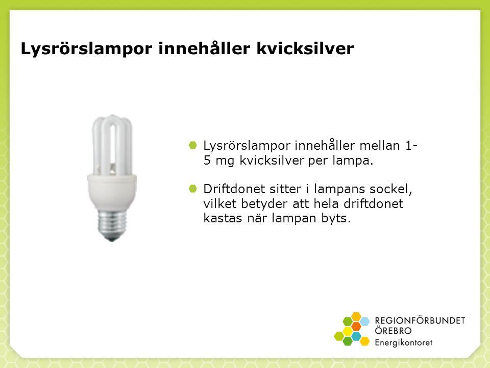 Lysrörslampor innehåller kvicksilver Lysrörslampor innehåller mellan 1- 5 mg kvicksilver per lampa.