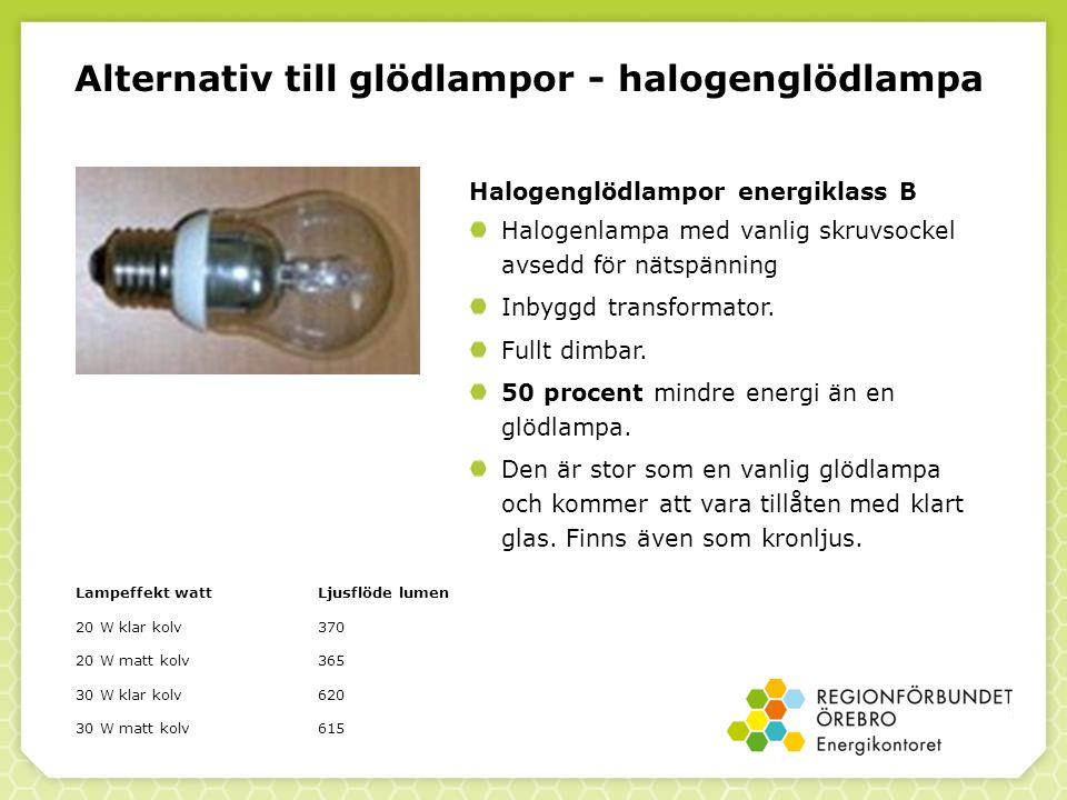Lampeffekt wattLjusflöde lumen 20 W klar kolv370 20 W matt kolv365 30 W klar kolv620 30 W matt kolv615 Alternativ till glödlampor - halogenglödlampa Halogenglödlampor energiklass B Halogenlampa med vanlig skruvsockel avsedd för nätspänning Inbyggd transformator.