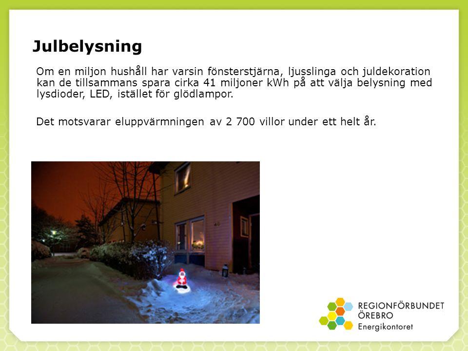 Julbelysning Om en miljon hushåll har varsin fönsterstjärna, ljusslinga och juldekoration kan de tillsammans spara cirka 41 miljoner kWh på att välja belysning med lysdioder, LED, istället för glödlampor.