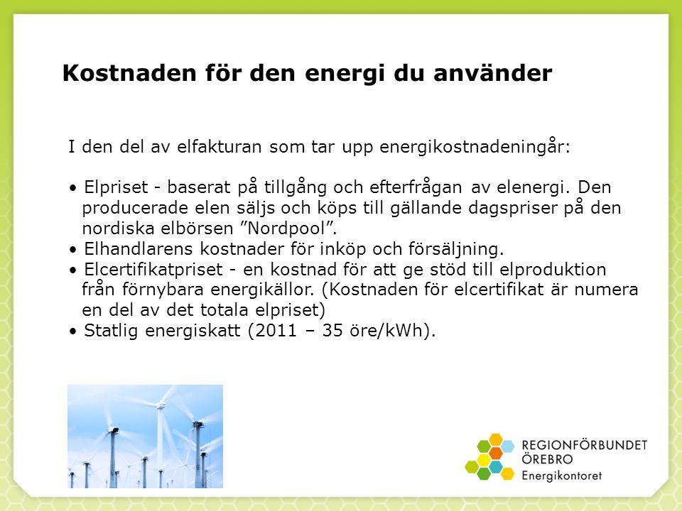 Kostnaden för den energi du använder I den del av elfakturan som tar upp energikostnadeningår: Elpriset - baserat på tillgång och efterfrågan av elenergi.