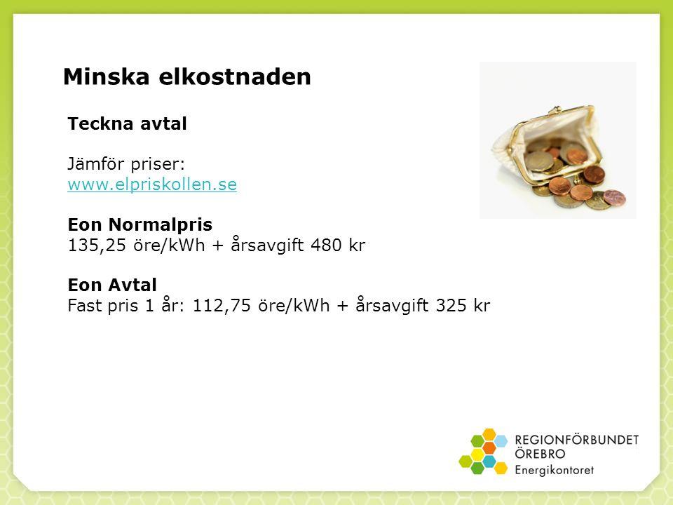 Minska elkostnaden Teckna avtal Jämför priser: www.elpriskollen.se Eon Normalpris 135,25 öre/kWh + årsavgift 480 kr Eon Avtal Fast pris 1 år: 112,75 öre/kWh + årsavgift 325 kr