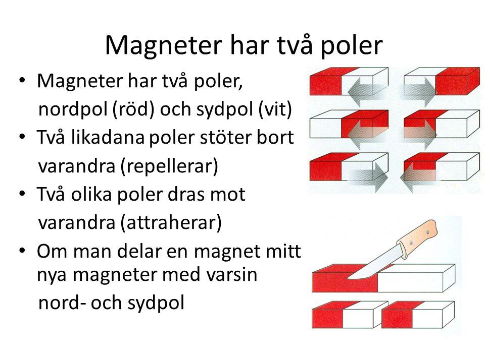 Magneter har två poler Magneter har två poler, nordpol (röd) och sydpol (vit) Två likadana poler stöter bort varandra (repellerar) Två olika poler dra