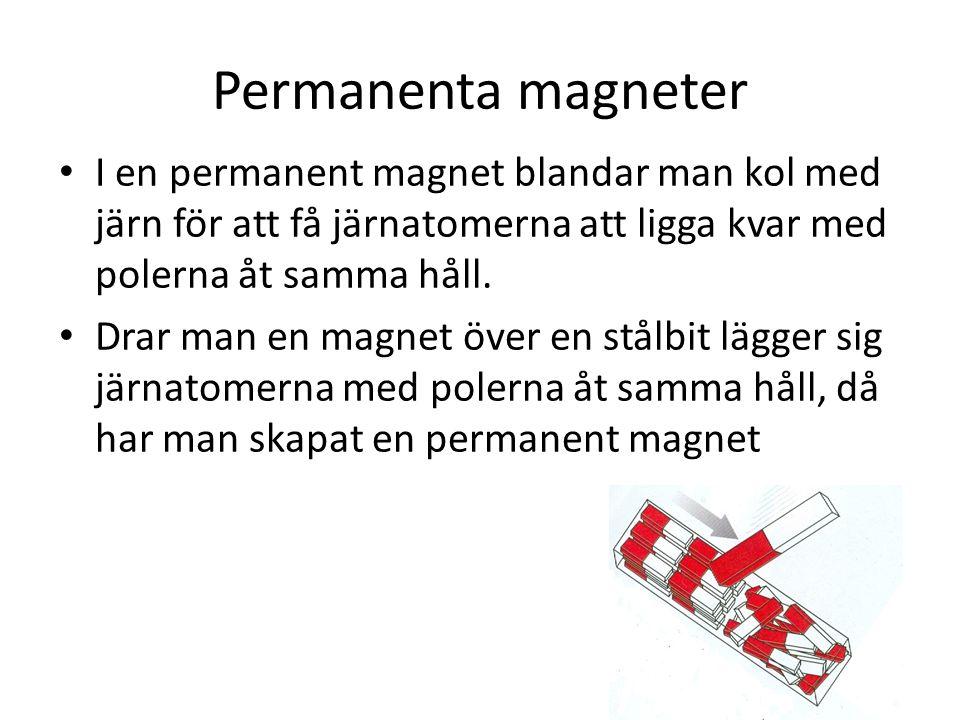 Permanenta magneter I en permanent magnet blandar man kol med järn för att få järnatomerna att ligga kvar med polerna åt samma håll. Drar man en magne