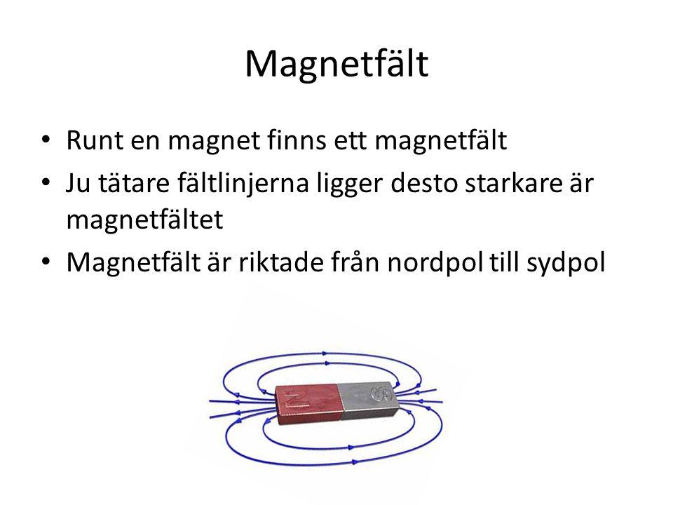 Magnetfält Runt en magnet finns ett magnetfält Ju tätare fältlinjerna ligger desto starkare är magnetfältet Magnetfält är riktade från nordpol till sy
