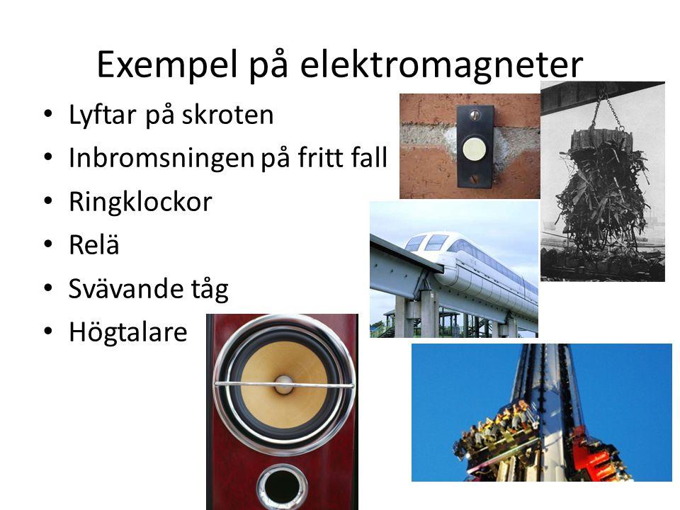 Exempel på elektromagneter Lyftar på skroten Inbromsningen på fritt fall Ringklockor Relä Svävande tåg Högtalare