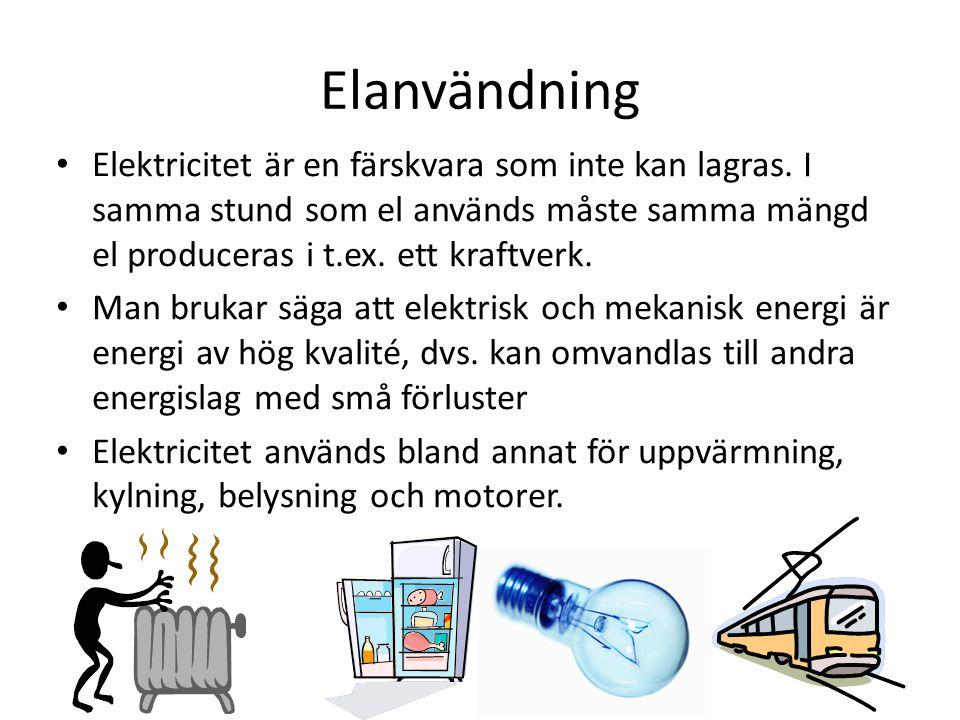 Elanvändning Elektricitet är en färskvara som inte kan lagras. I samma stund som el används måste samma mängd el produceras i t.ex. ett kraftverk. Man