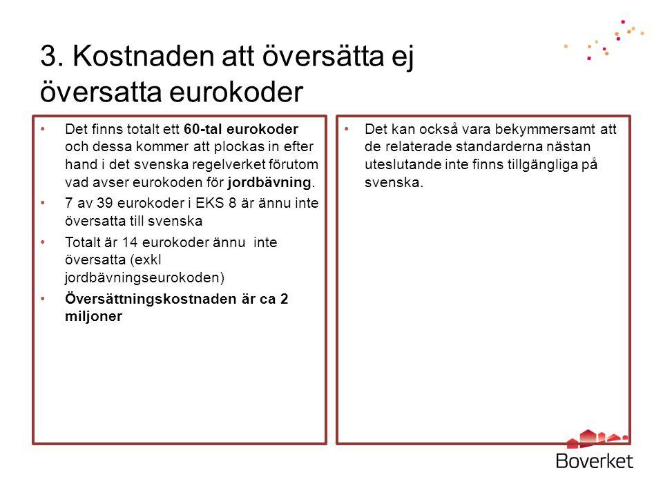 3. Kostnaden att översätta ej översatta eurokoder Det finns totalt ett 60-tal eurokoder och dessa kommer att plockas in efter hand i det svenska regel
