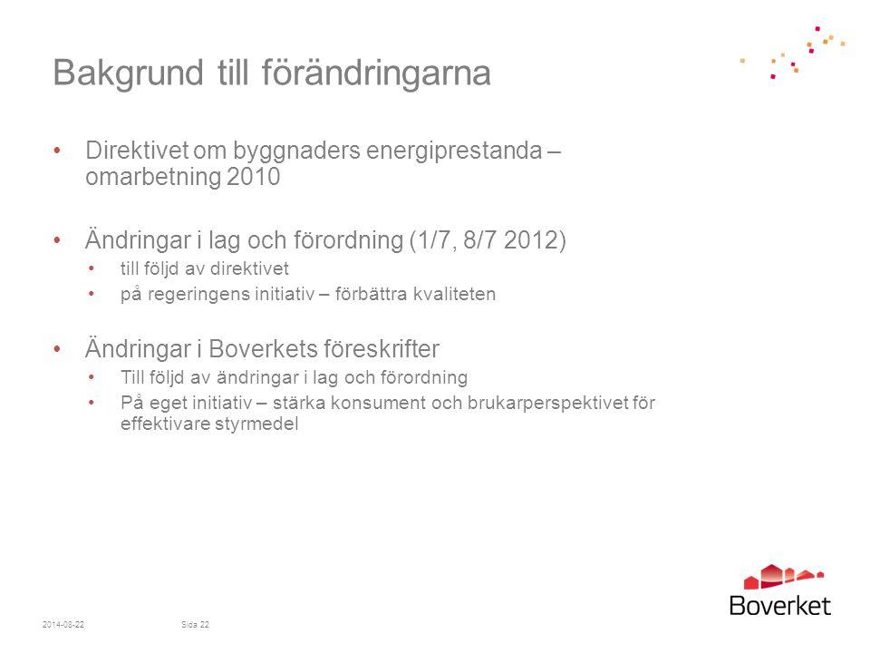 Bakgrund till förändringarna Direktivet om byggnaders energiprestanda – omarbetning 2010 Ändringar i lag och förordning (1/7, 8/7 2012) till följd av