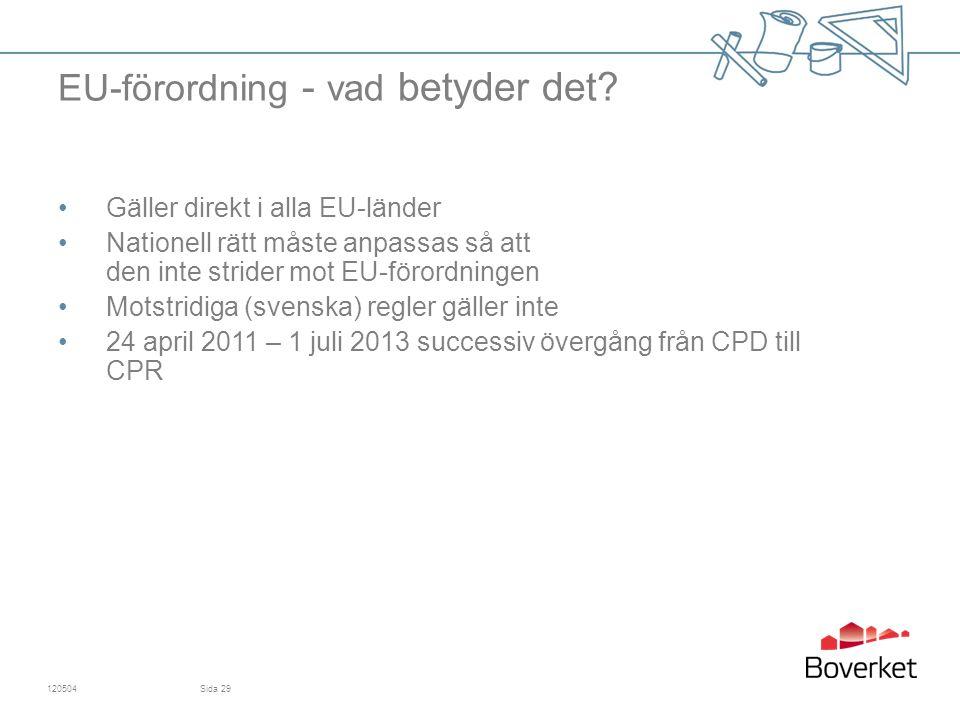 Gäller direkt i alla EU-länder Nationell rätt måste anpassas så att den inte strider mot EU-förordningen Motstridiga (svenska) regler gäller inte 24 april 2011 – 1 juli 2013 successiv övergång från CPD till CPR 120504Sida 29 EU-förordning - vad betyder det?
