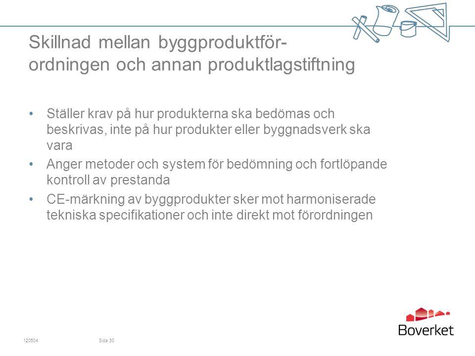 Skillnad mellan byggproduktför- ordningen och annan produktlagstiftning Ställer krav på hur produkterna ska bedömas och beskrivas, inte på hur produkter eller byggnadsverk ska vara Anger metoder och system för bedömning och fortlöpande kontroll av prestanda CE-märkning av byggprodukter sker mot harmoniserade tekniska specifikationer och inte direkt mot förordningen 120504Sida 30