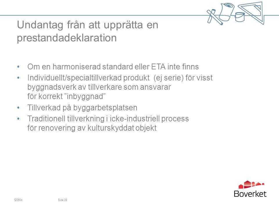 Undantag från att upprätta en prestandadeklaration Om en harmoniserad standard eller ETA inte finns Individuellt/specialtillverkad produkt (ej serie) för visst byggnadsverk av tillverkare som ansvarar för korrekt inbyggnad Tillverkad på byggarbetsplatsen Traditionell tillverkning i icke-industriell process för renovering av kulturskyddat objekt 120504Sida 39