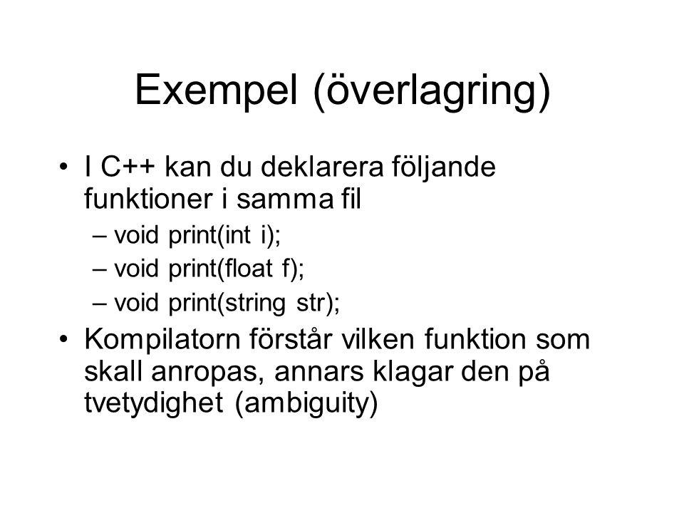Exempel (överlagring) I C++ kan du deklarera följande funktioner i samma fil –void print(int i); –void print(float f); –void print(string str); Kompil