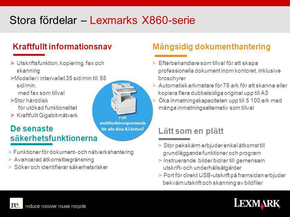 Stora fördelar – Lexmarks X860-serie Kraftfullt informationsnav > Utskriftsfunktion, kopiering, fax och skanning >Modeller i intervallet 35 sid/min ti