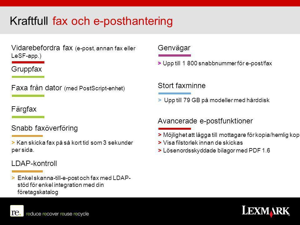 Vidarebefordra fax (e-post, annan fax eller LeSF-app.) Snabb faxöverföring > Kan skicka fax på så kort tid som 3 sekunder per sida. Gruppfax Genvägar