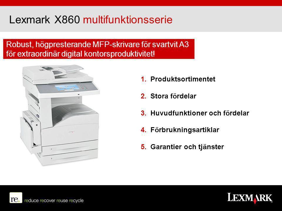 Lexmark X860 multifunktionsserie Robust, högpresterande MFP-skrivare för svartvit A3 för extraordinär digital kontorsproduktivitet! 1. Produktsortimen
